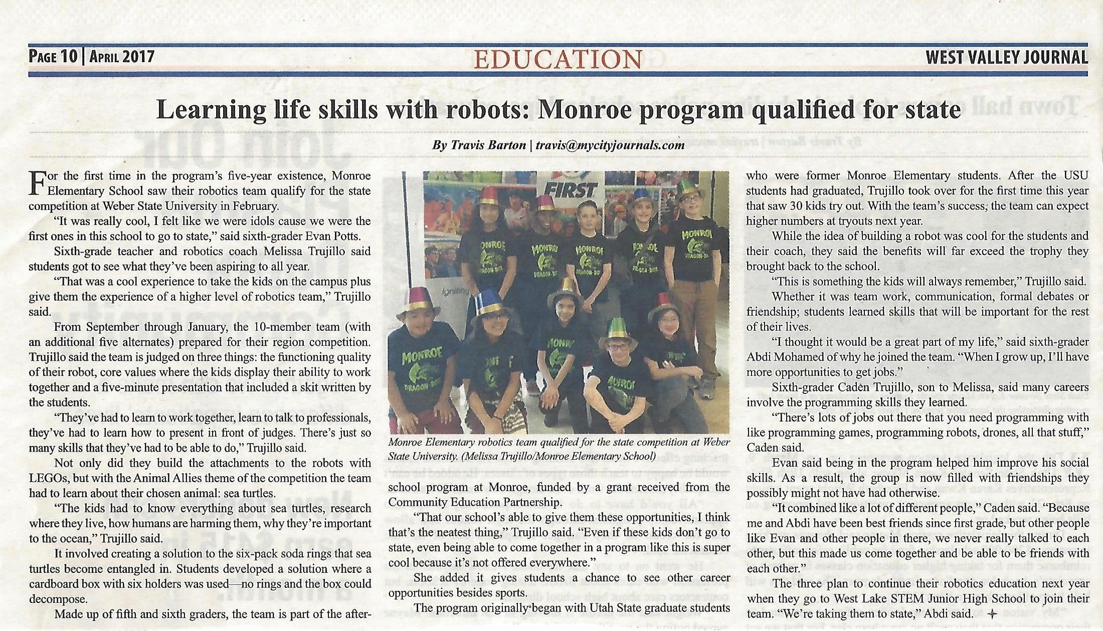 Monroe Robotics Program featured in West Valley Journal on brown journal, atlanta journal, wadena pioneer journal, shakopee valley news, spring valley tribune, proctor journal, canton journal,